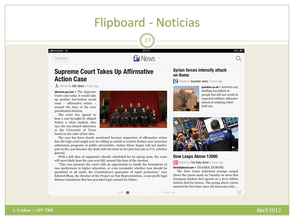 Flipboard - Noticias L. Codina :: UPF-TNR Abril 2012