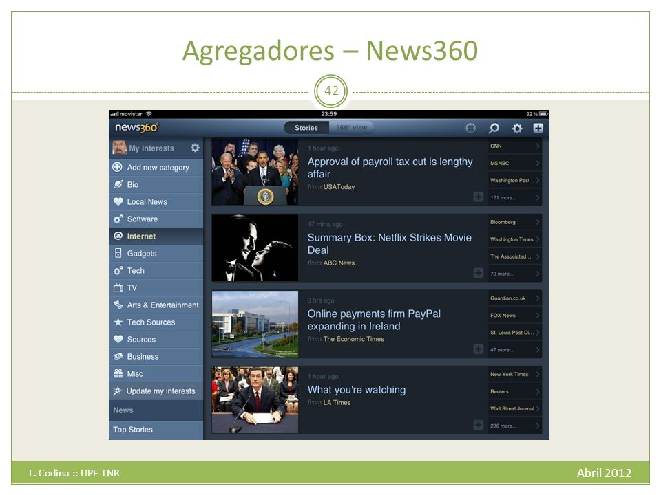 Agregadores – News360 L. Codina :: UPF-TNR Abril 2012