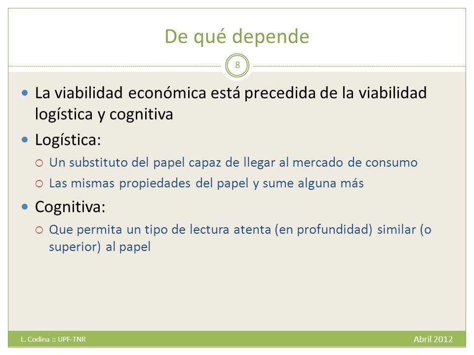 De qué depende La viabilidad económica está precedida de la viabilidad logística y cognitiva. Logística: