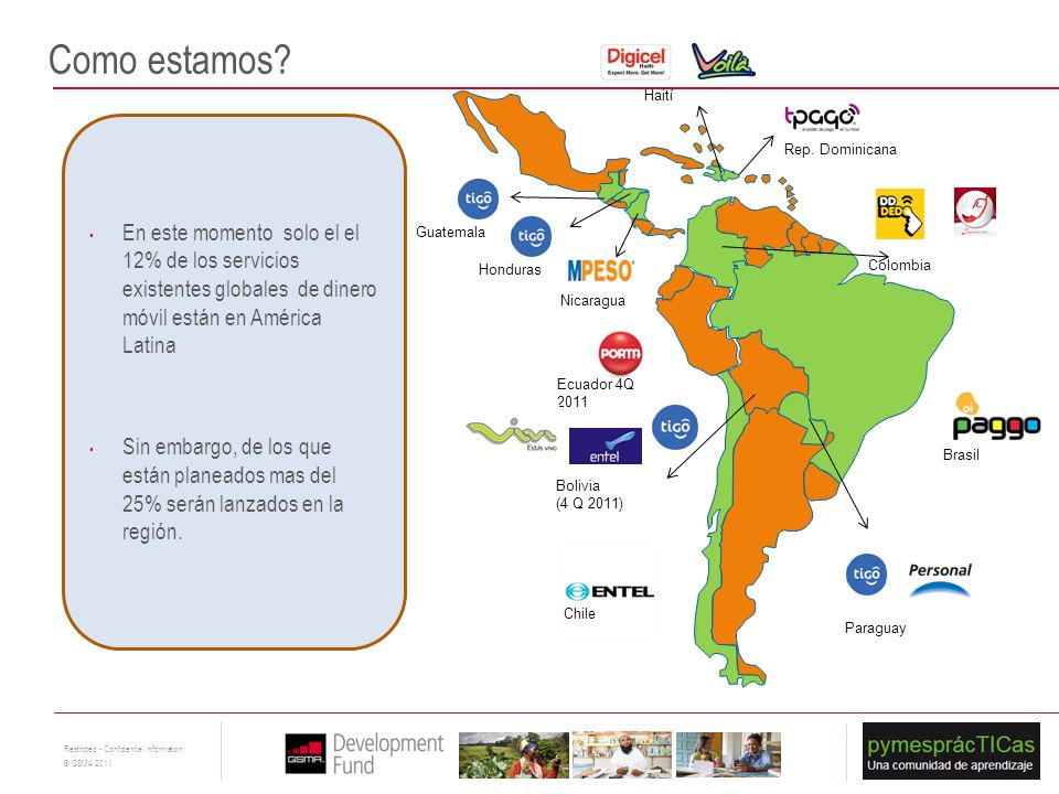 Como estamos Haití. En este momento solo el el 12% de los servicios existentes globales de dinero móvil están en América Latina.