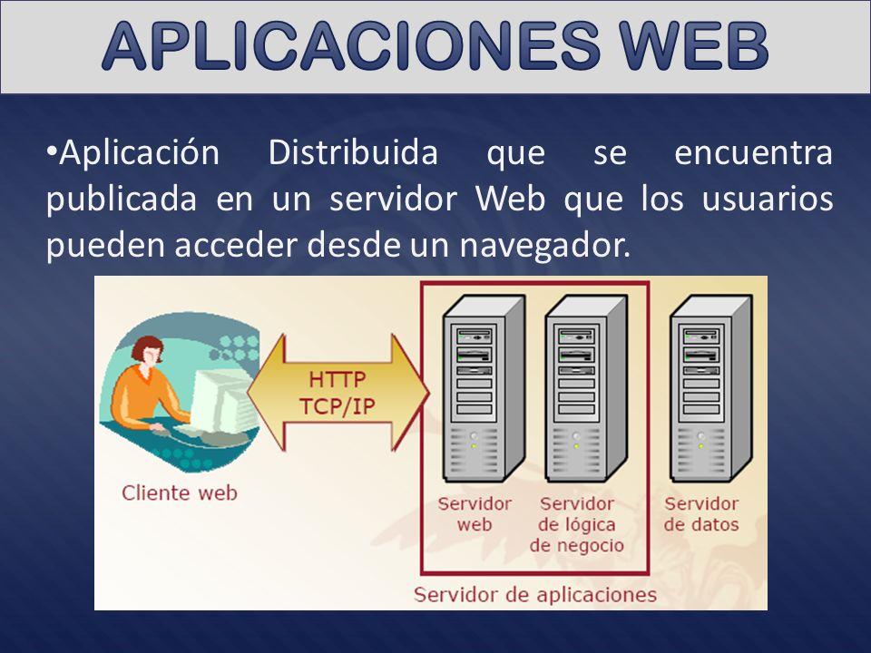 APLICACIONES WEB Aplicación Distribuida que se encuentra publicada en un servidor Web que los usuarios pueden acceder desde un navegador.