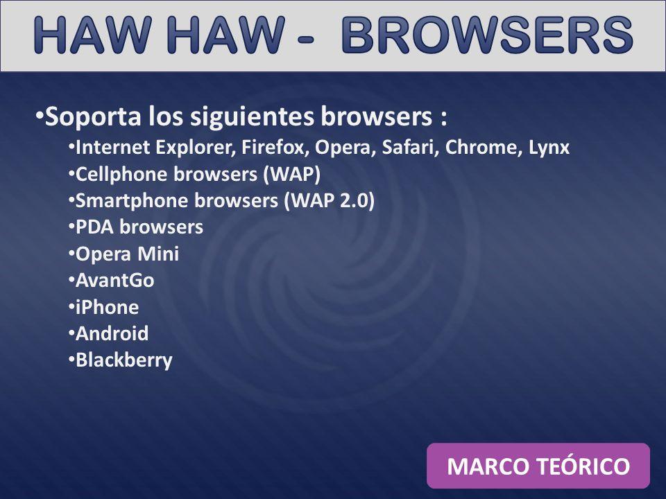 HAW HAW - BROWSERS Soporta los siguientes browsers : MARCO TEÓRICO