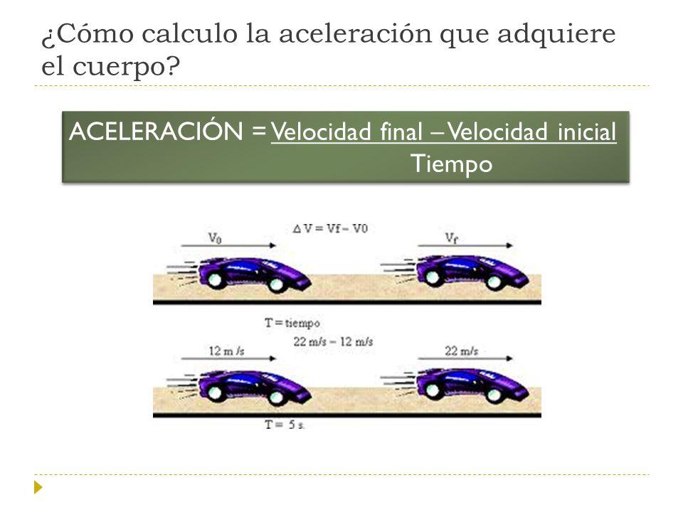 ¿Cómo calculo la aceleración que adquiere el cuerpo