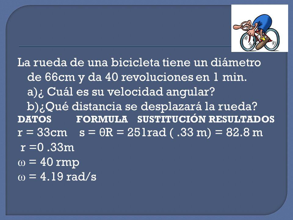 b)¿Qué distancia se desplazará la rueda