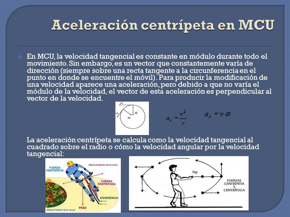Aceleración centrípeta en MCU