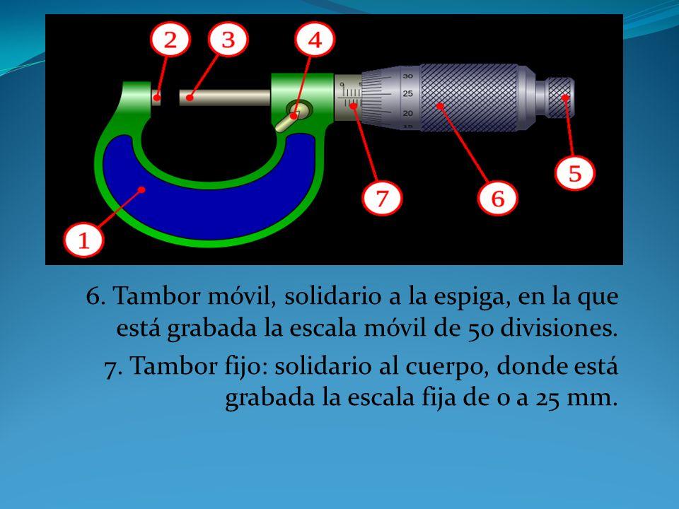 6. Tambor móvil, solidario a la espiga, en la que está grabada la escala móvil de 50 divisiones.