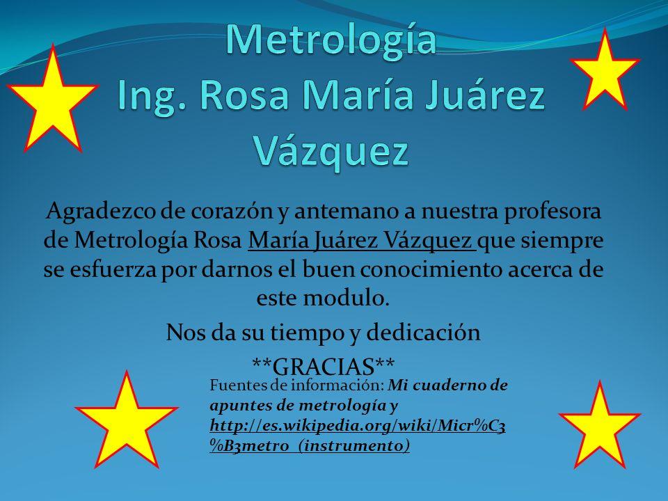 Metrología Ing. Rosa María Juárez Vázquez