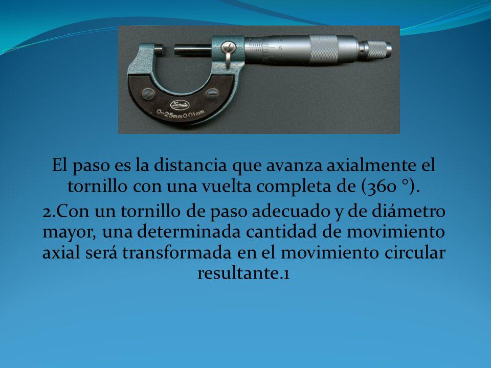 El paso es la distancia que avanza axialmente el tornillo con una vuelta completa de (360 °).