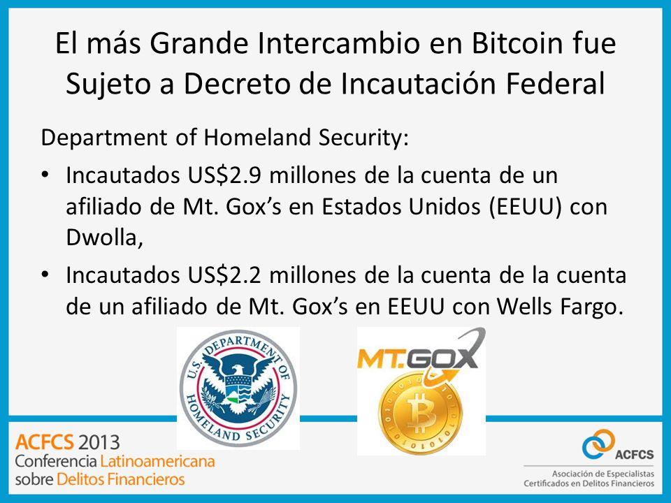 El más Grande Intercambio en Bitcoin fue Sujeto a Decreto de Incautación Federal