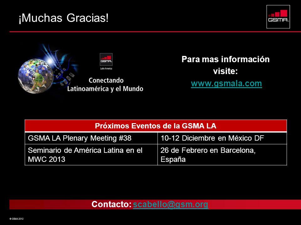 Próximos Eventos de la GSMA LA Contacto: scabello@gsm.org