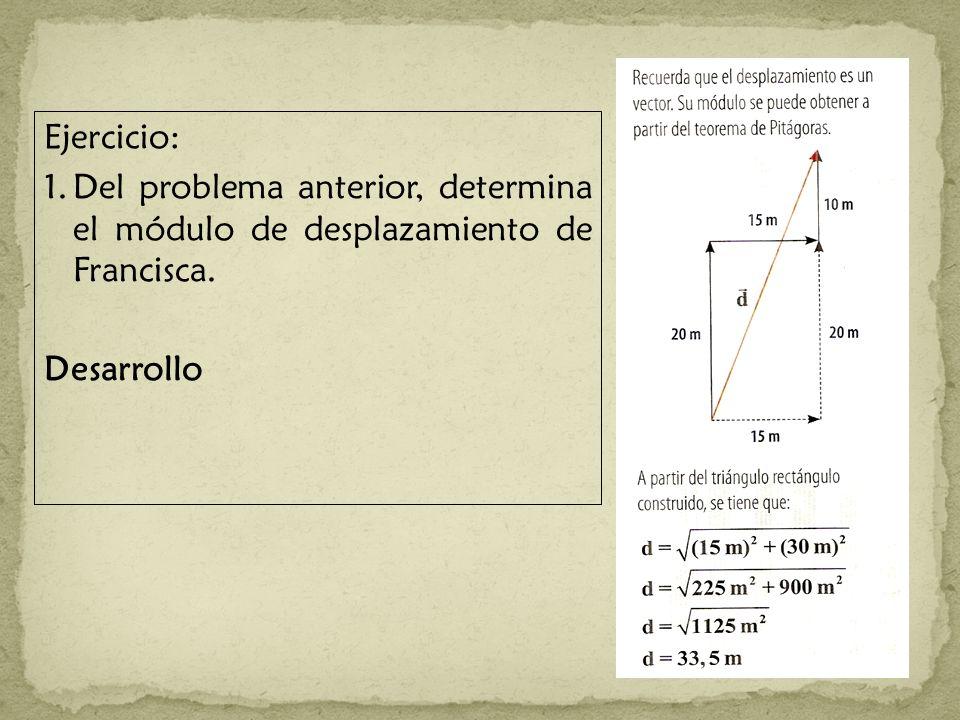 Ejercicio: 1. Del problema anterior, determina el módulo de desplazamiento de Francisca.