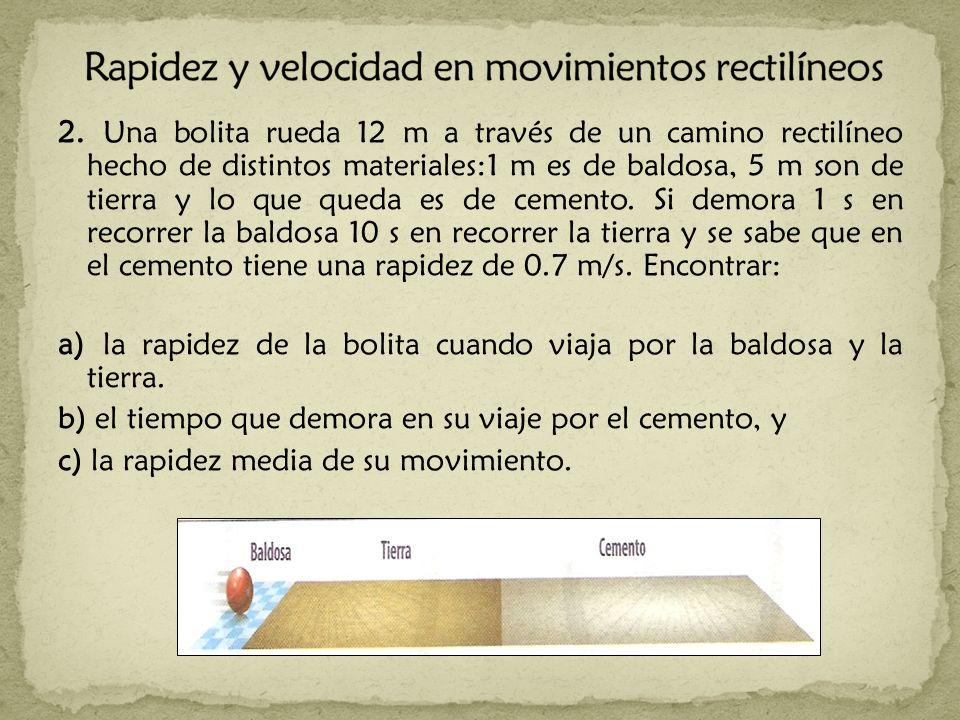 Rapidez y velocidad en movimientos rectilíneos