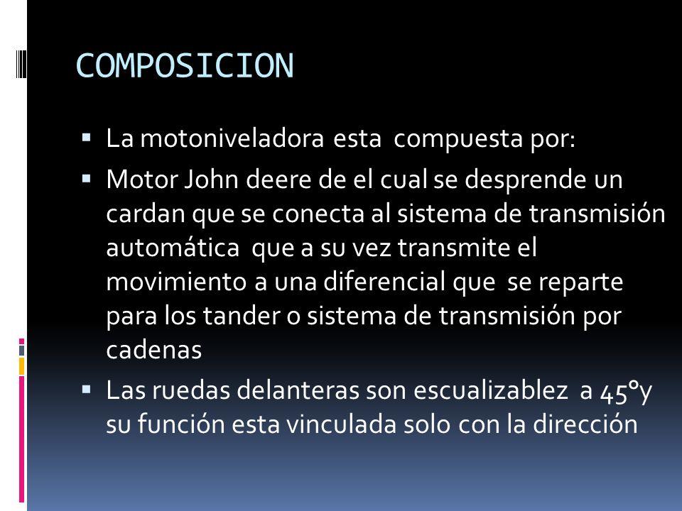 COMPOSICION La motoniveladora esta compuesta por: