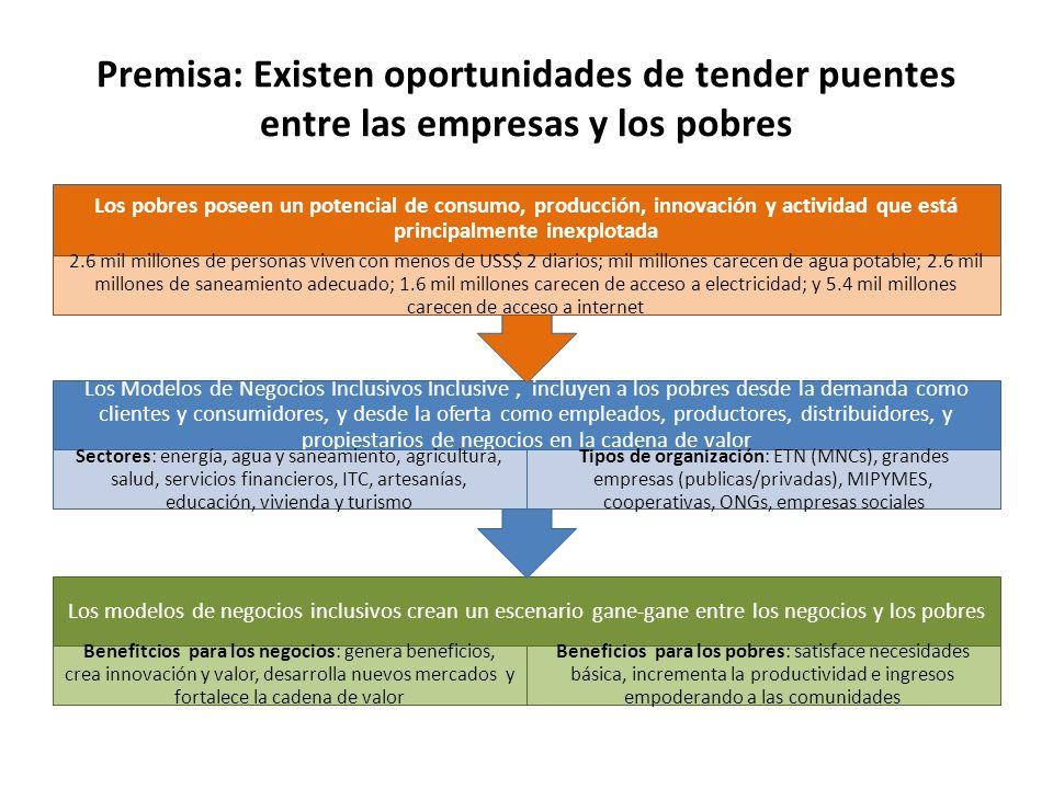 Premisa: Existen oportunidades de tender puentes entre las empresas y los pobres