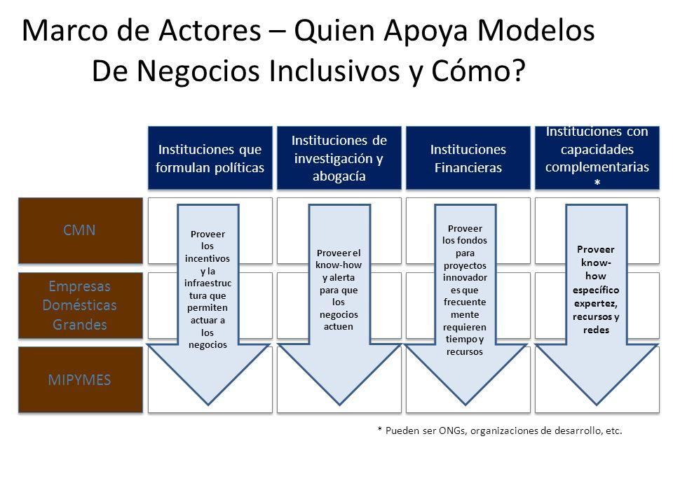 Marco de Actores – Quien Apoya Modelos De Negocios Inclusivos y Cómo