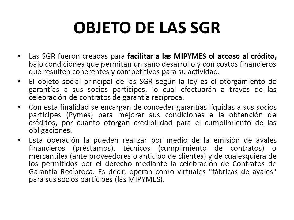 OBJETO DE LAS SGR