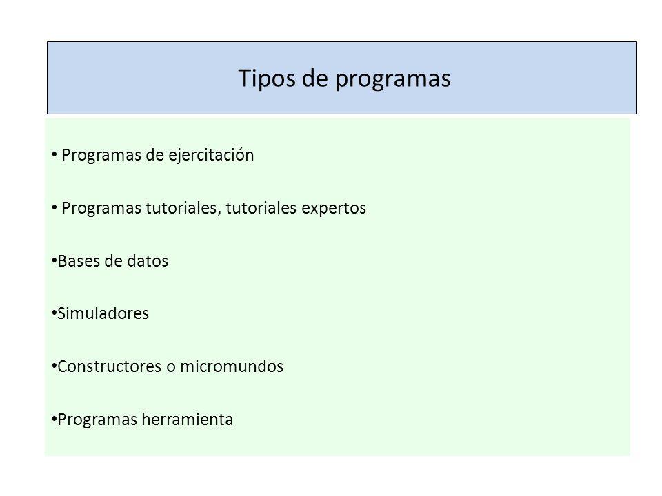 Tipos de programas Programas de ejercitación