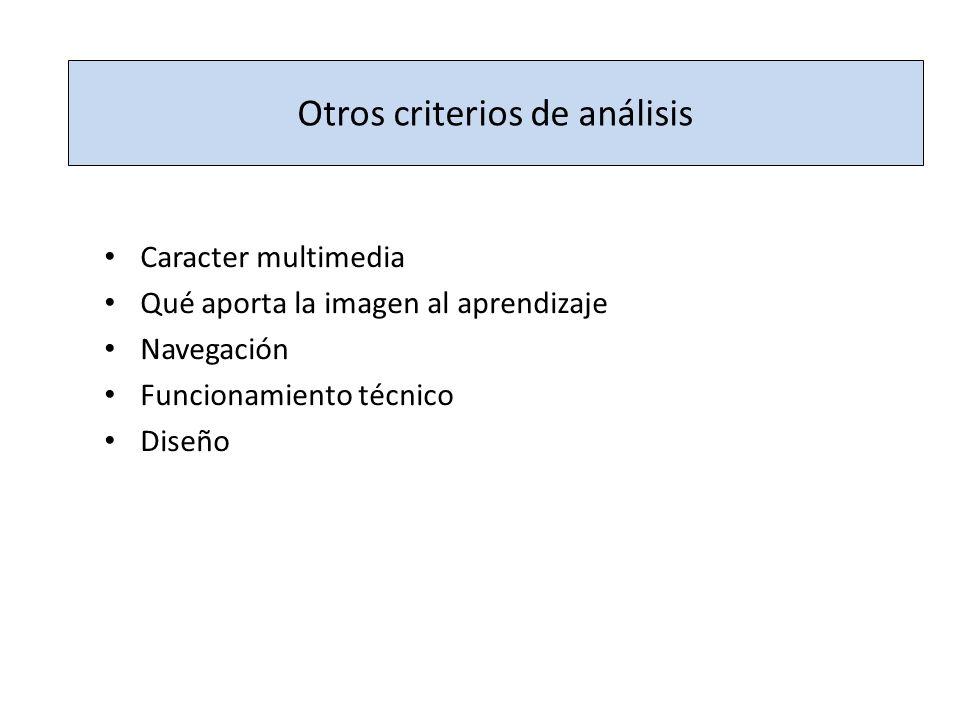Otros criterios de análisis