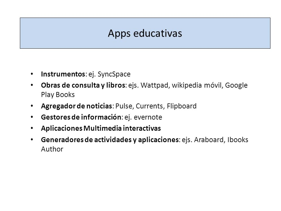 Apps educativas Instrumentos: ej. SyncSpace