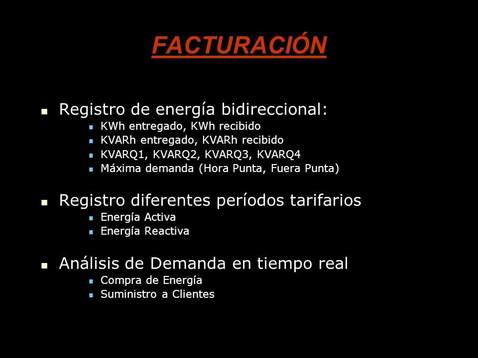 FACTURACIÓN Registro de energía bidireccional: