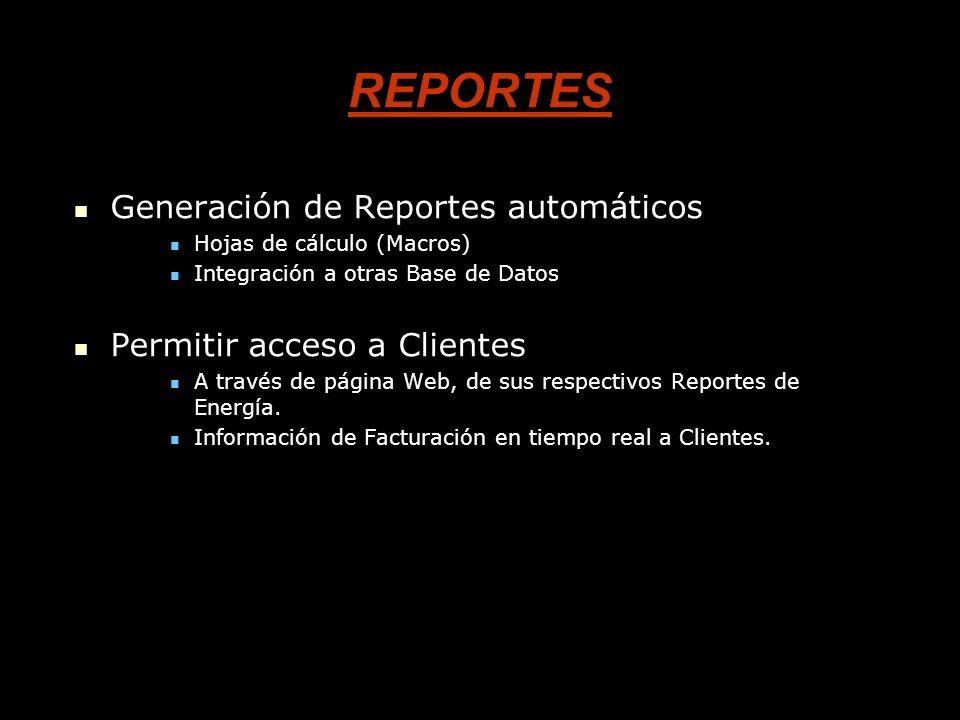 REPORTES Generación de Reportes automáticos Permitir acceso a Clientes