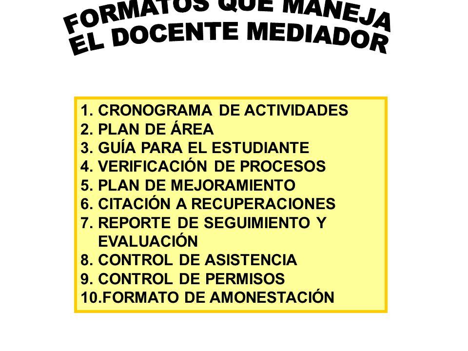 FORMATOS QUE MANEJA EL DOCENTE MEDIADOR CRONOGRAMA DE ACTIVIDADES
