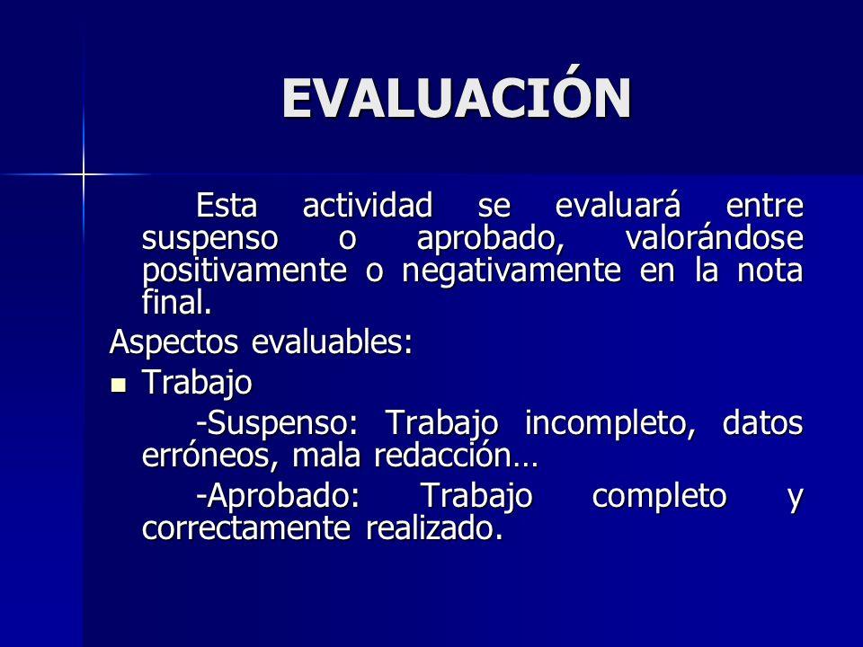 EVALUACIÓN Esta actividad se evaluará entre suspenso o aprobado, valorándose positivamente o negativamente en la nota final.