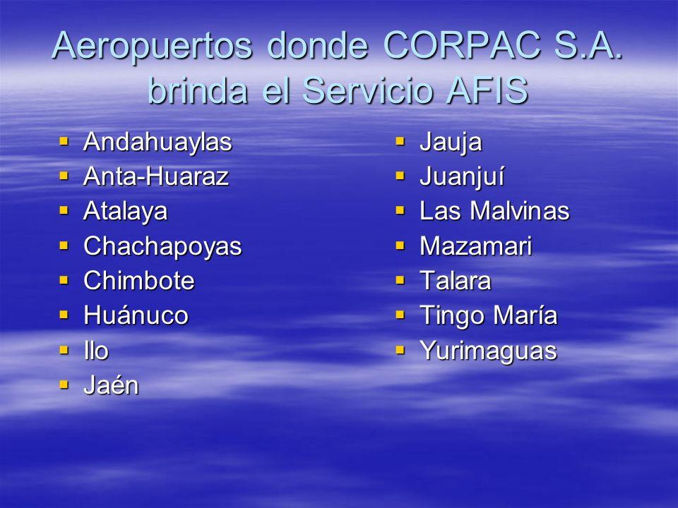 Aeropuertos donde CORPAC S.A. brinda el Servicio AFIS