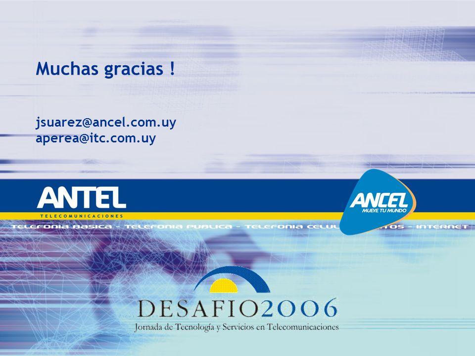 Muchas gracias ! jsuarez@ancel.com.uy aperea@itc.com.uy