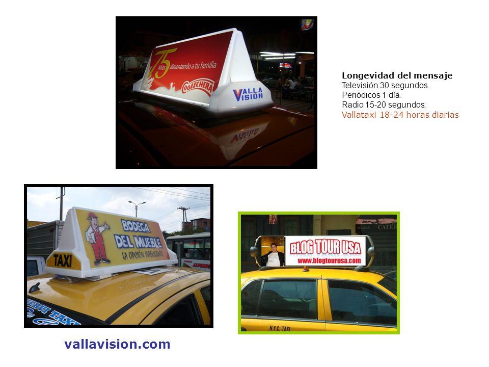 vallavision.com Longevidad del mensaje Televisión 30 segundos.