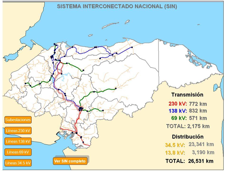 Subestaciones Líneas 230 kV Líneas 138 kV Líneas 69 kV Ver SIN completo Líneas 34.5 kV