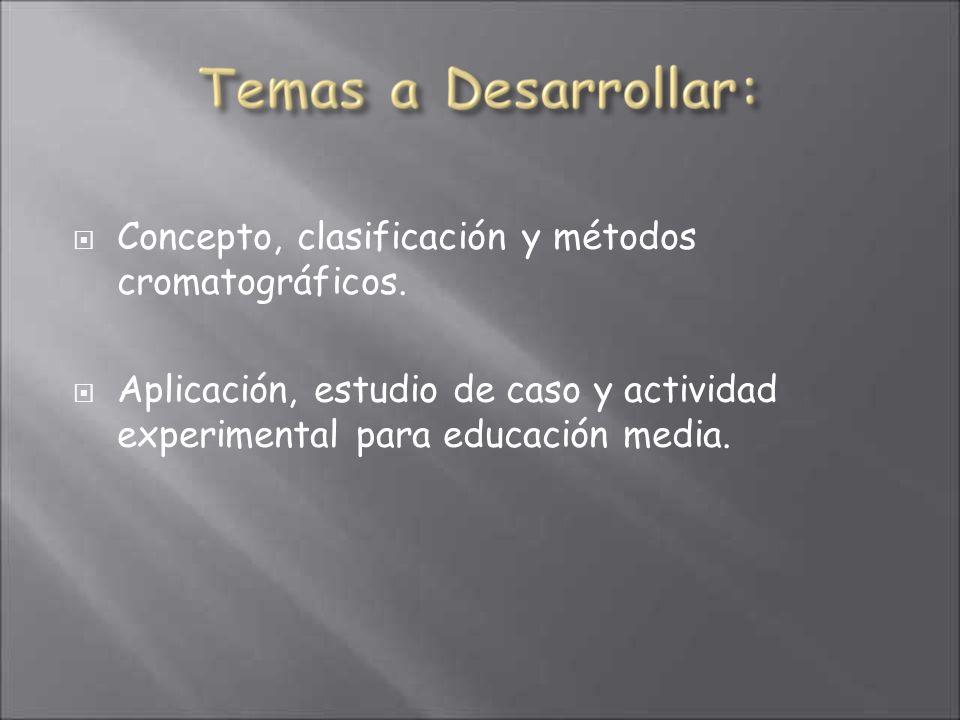 Concepto, clasificación y métodos cromatográficos.