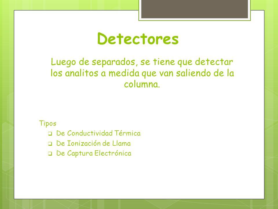 Detectores Luego de separados, se tiene que detectar los analitos a medida que van saliendo de la columna.