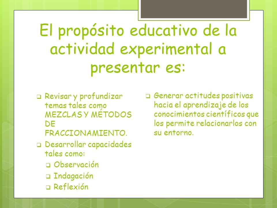 El propósito educativo de la actividad experimental a presentar es: