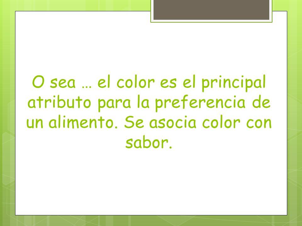 O sea … el color es el principal atributo para la preferencia de un alimento.