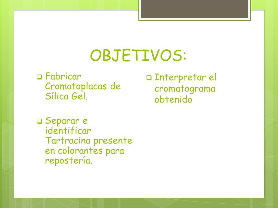 OBJETIVOS: Fabricar Cromatoplacas de Sílica Gel.