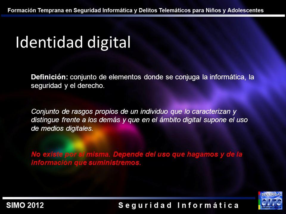 Identidad digital Definición: conjunto de elementos donde se conjuga la informática, la seguridad y el derecho.