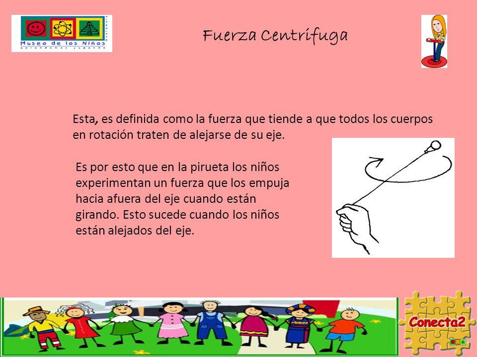 Fuerza Centrifuga Esta, es definida como la fuerza que tiende a que todos los cuerpos en rotación traten de alejarse de su eje.