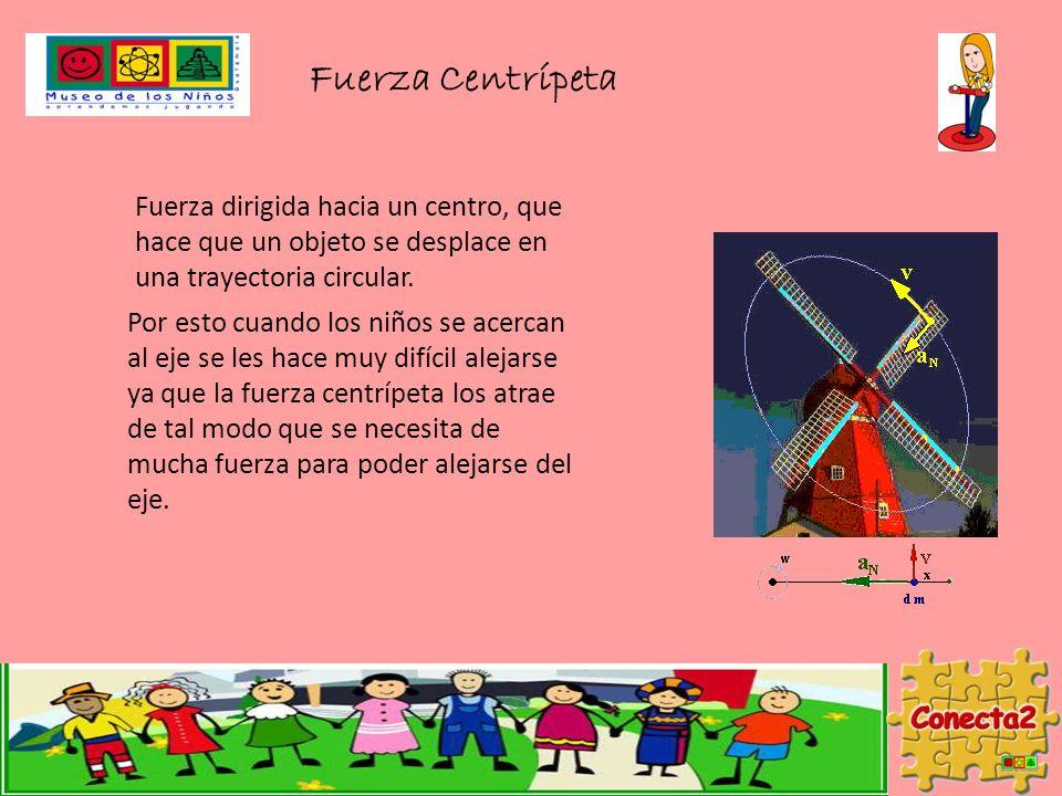 Fuerza Centrípeta Fuerza dirigida hacia un centro, que hace que un objeto se desplace en una trayectoria circular.