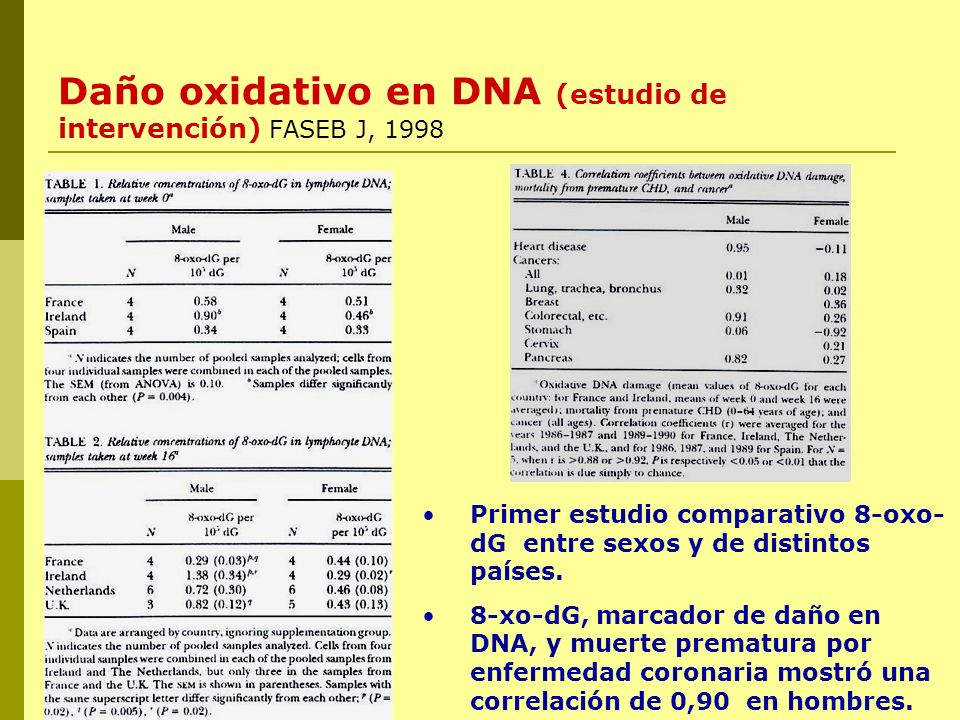 Daño oxidativo en DNA (estudio de intervención) FASEB J, 1998