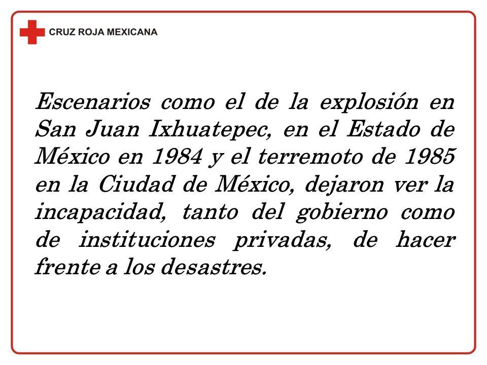 Escenarios como el de la explosión en San Juan Ixhuatepec, en el Estado de México en 1984 y el terremoto de 1985 en la Ciudad de México, dejaron ver la incapacidad, tanto del gobierno como de instituciones privadas, de hacer frente a los desastres.