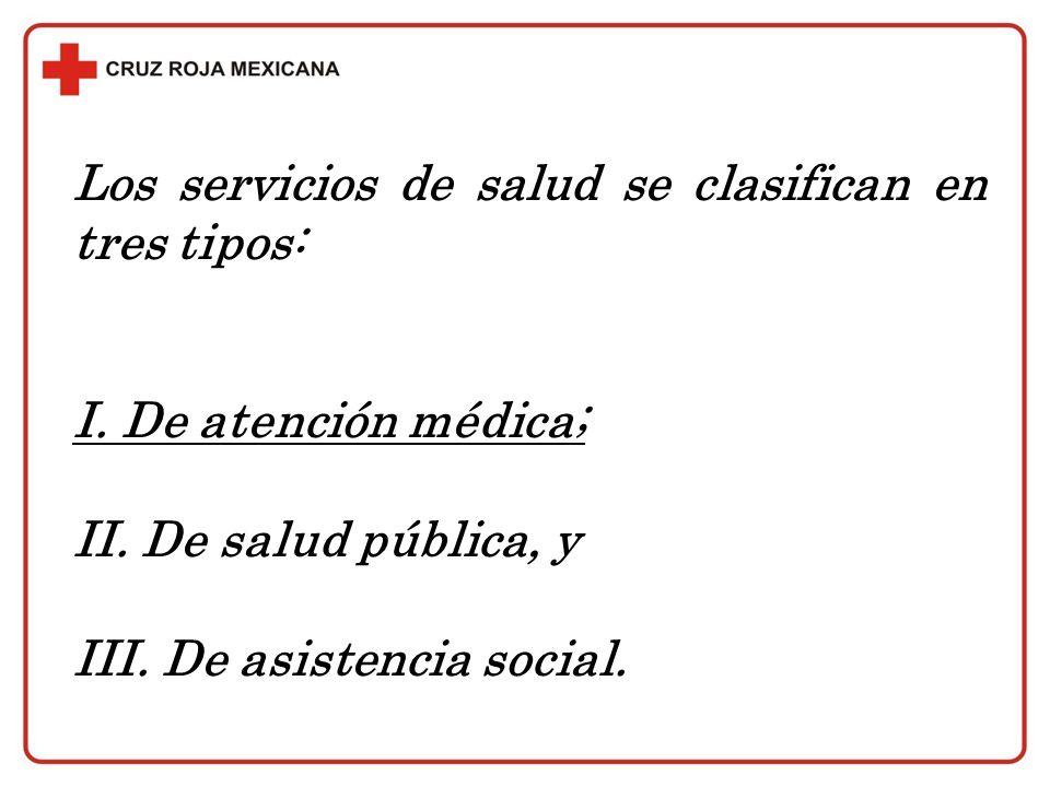 Los servicios de salud se clasifican en tres tipos: