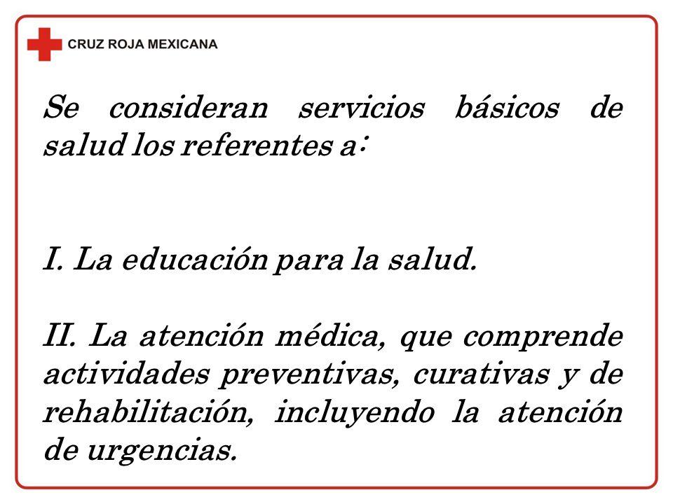 Se consideran servicios básicos de salud los referentes a: