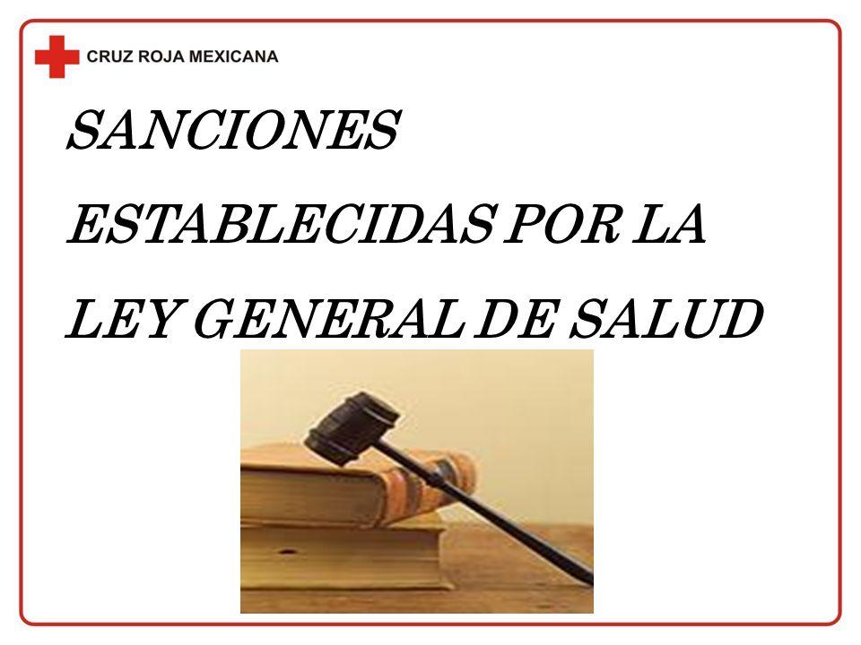 SANCIONES ESTABLECIDAS POR LA LEY GENERAL DE SALUD
