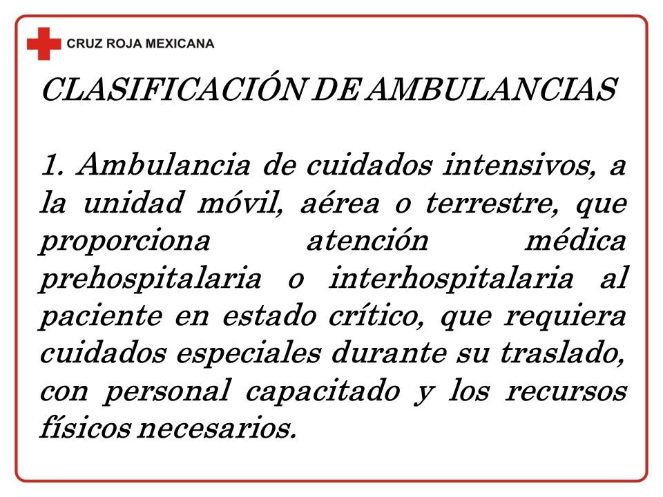 CLASIFICACIÓN DE AMBULANCIAS