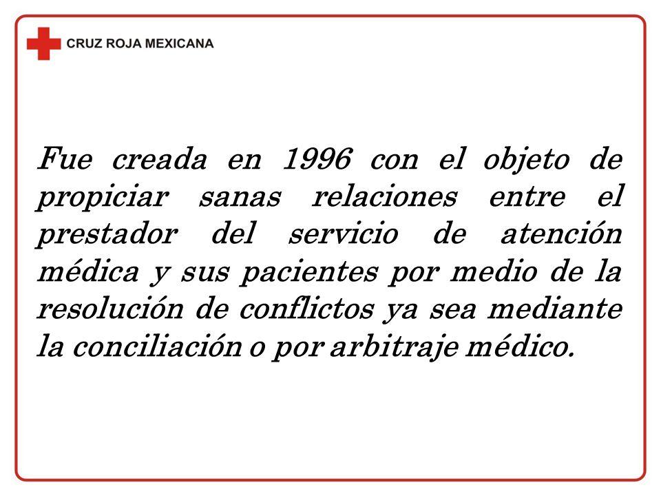 Fue creada en 1996 con el objeto de propiciar sanas relaciones entre el prestador del servicio de atención médica y sus pacientes por medio de la resolución de conflictos ya sea mediante la conciliación o por arbitraje médico.
