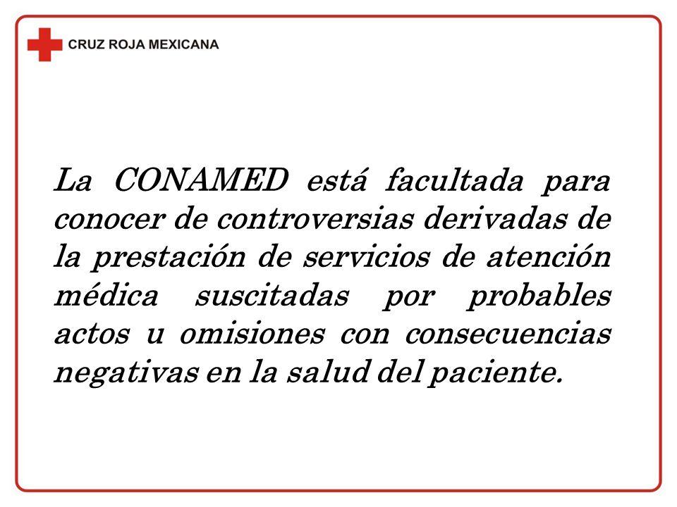 La CONAMED está facultada para conocer de controversias derivadas de la prestación de servicios de atención médica suscitadas por probables actos u omisiones con consecuencias negativas en la salud del paciente.