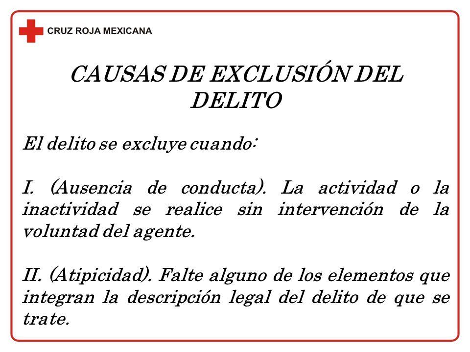 CAUSAS DE EXCLUSIÓN DEL DELITO