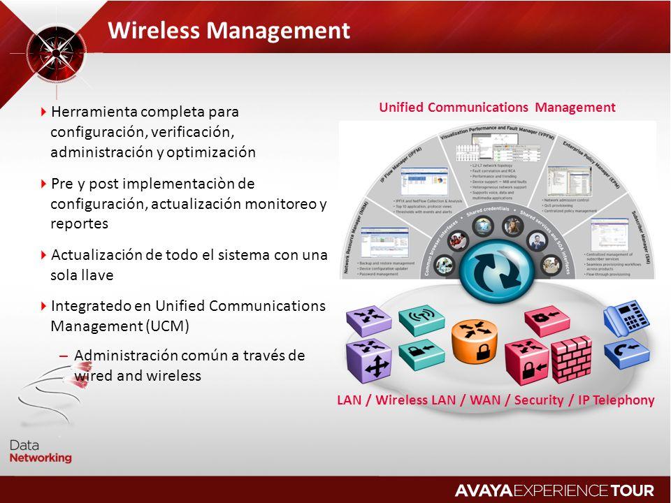 Wireless Management Herramienta completa para configuración, verificación, administración y optimización.