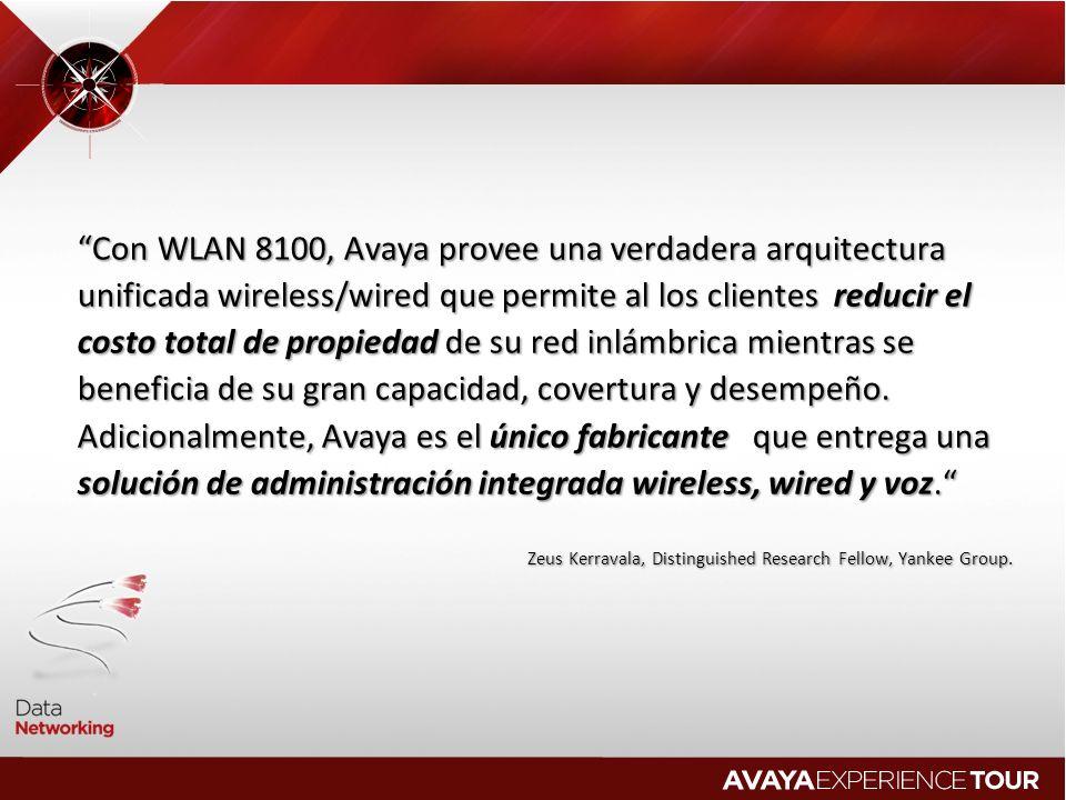 Con WLAN 8100, Avaya provee una verdadera arquitectura unificada wireless/wired que permite al los clientes reducir el costo total de propiedad de su red inlámbrica mientras se beneficia de su gran capacidad, covertura y desempeño. Adicionalmente, Avaya es el único fabricante que entrega una solución de administración integrada wireless, wired y voz.